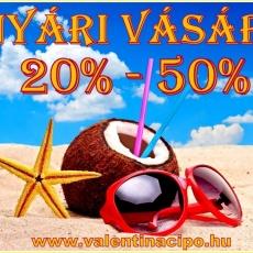 Nyár vásár a Valentina Cipőboltokban és webáruhzában! Minden nyári cipő ,szandál, papucs 20 -50 százalékos kedvezménnyel vásárolható! www.valentinacipo.hu
